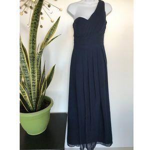 Bill Levkoff navy blue long chiffon dress gown 12